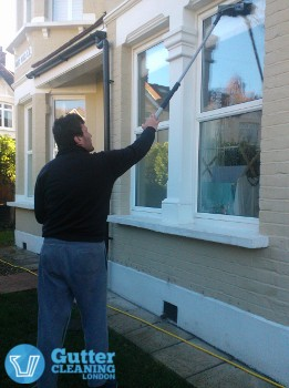 window cleaning with water fed pole system